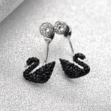 Alibaba Express Türkei Fancy Elegante schwarze Schwan wechselbaren Kristall baumelnden Ohrring