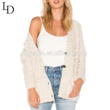 Nova moda outono v pescoço oversized suéter de lã para as mulheres