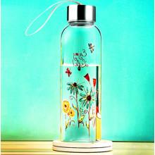 Bela flor design garrafa de água de vidro com corda presente copo frasco de vidro esporte