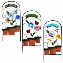 "Metal Flowerpot ""Welcome""Garden Fence Craft with Cloth Flower"