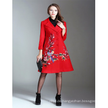 Herbst Luxus 2017 Frau Alibaba Red Emboidered Trench Coat Und Jacken