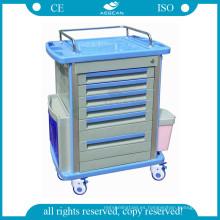 El más nuevo AG-MT001A1 Lujoso almacenamiento de medicina móvil utilizado enfermera felpa carro quirúrgico