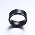Grabable anillo de fibra de carbono de tungsteno negro para boda
