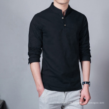 Large Wholesale Chinese Style Long Sleeve Shirt Men's Size Linen Casual Top Slim Solid Color Collar