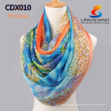 Lingshang New Women Fashion Stylish Wholesale Dot Leopard Soft Silk Chiffon Stole Shawl Scarf