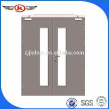JK-F9022steel fire door with panic push bar/fire rated glass door