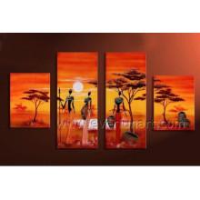 Pintura al óleo africana desnuda del arte de la lona de las mujeres (AR-143)