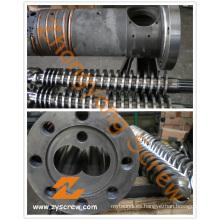 Tornillo gemelo cónico y barril para PVC + WPC