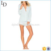 Senhoras de seda de cetim pjs macio botão de impressão pijama para granel
