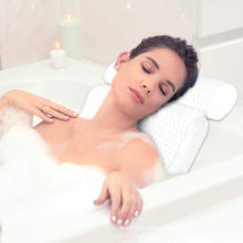 3D Mesh Bath Pillow, Ergonomic Bathtub Spa Pillow with 6 Powerful Suction Cup for Head, Back, Shoulder and Neck Support