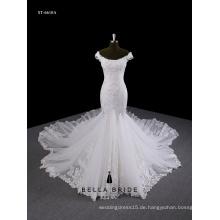 Spitze-Meerjungfrau-Rüsche-Hochzeitskleid appliqued wulstiges weg-das-Schulterhochzeitskleid mit langem Zug