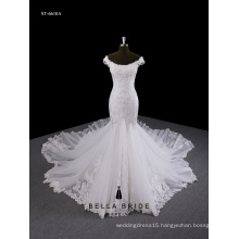 Lace mermaid ruffle wedding dress appliqued beaded off-the-shoulder wedding dress with long train