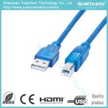 Macho novo da cor azul ao cabo fêmea da impressora de USB