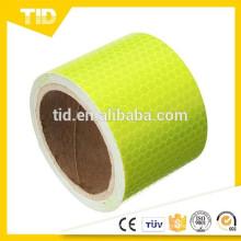 Fita de advertência de segurança reflexiva, verde amarelo fluorescente, pente do mel