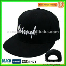 black snapback hats white embroidery logo SN-0080