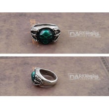'Der Ring der Seele' Grüner Schmuckeinsatz Retro Silber Farbe