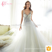 Elegante halter vestido de noiva vestido de noiva com renda de renda