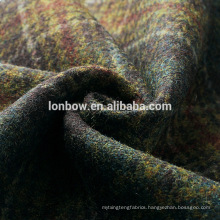 Dark green plaid 100% wool tweed dress fabric made in China