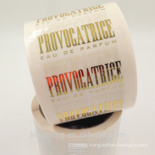 transparent adhesive sticker roll with hot stamp gold