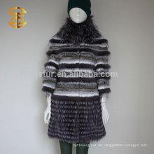 Brand Design Luxuries Style Echtes Silber Fox Pelz und Kaninchen Pelz Stand Kragen Winter Pelz Mantel