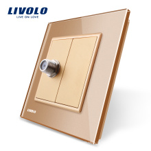 Панель из хрусталя Livolo Gold, розетка спутникового телевидения One Gang / розетка VL-C791ST-13