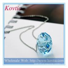 ALTA moda grande bola de cristal pingente de colar de prata esterlina