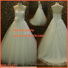 La muestra al por mayor del vestido de boda muestra la flor cristalina rebordeó el vestido 2016 del vestido del diseño nuevo vestido nupcial BYB-L1017