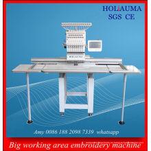 Máquina plana del bordado de alta calidad precio barato 1 cabeza tapa 3D computarizado interno