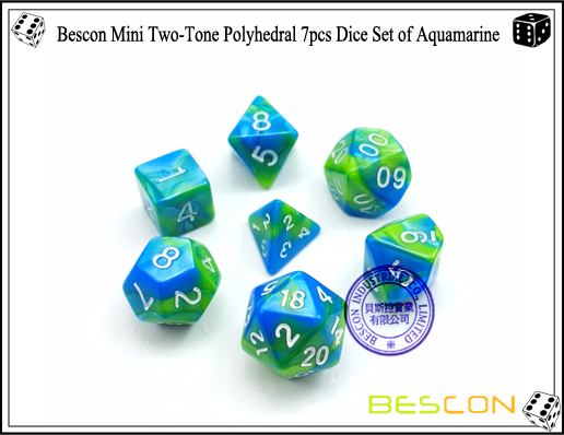Bescon Mini Two-Tone Polyhedral 7pcs Dice Set of Aquamarine-1