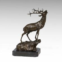 Tier Bronze Skulptur Hirsch Brüllen Carving Deco Messing Statue Tpy-273