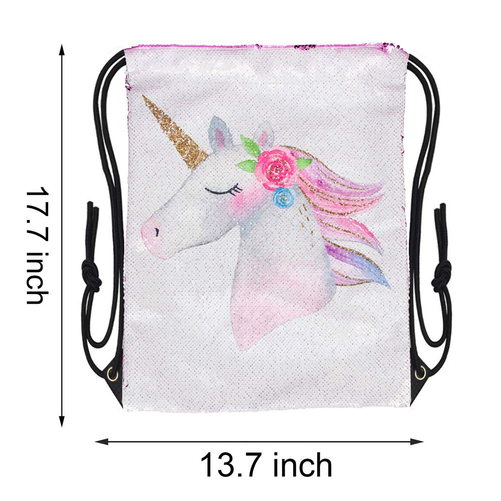 Unicorn Reversible Sequin Drawstring Bag 5