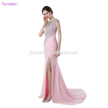 Pink Evening Dresses High Quality Chiffon Luxurious Beaded Crystals Mermaid Cap Sleeves V Back Evening Gown Side Slit