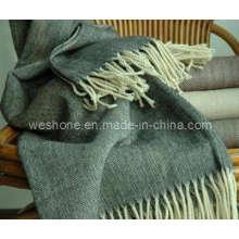Couverture de jet de laine Herringbone