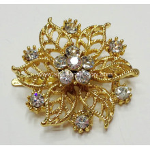 Gold Flower Shapes Rhinestone Shoe Clips