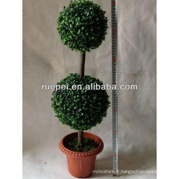 Arbre de boule de gazon artificiel / Artificial Fake synthétique arbre de buis topiaire double bûcher