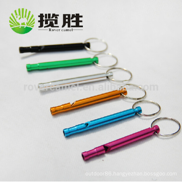 Rover Camel Whistle Aluminium Mini Long Whistle Keychain Keyring Camping Survival Whistle