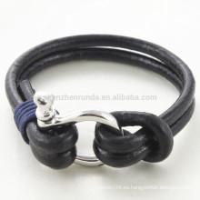 Venta al por mayor pulseras de cuerda de cuero genuino de Brown de la pulsera de la grillete de la manera con los accesorios del gancho del acero inoxidable de los hombres