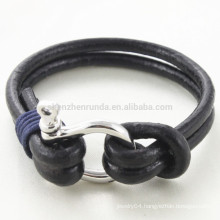 Wholesale Fashion Shackle Bracelet Jewelry Brown Genuine Leather Rope Bracelets with Men Stainless Steel Hook Accessories