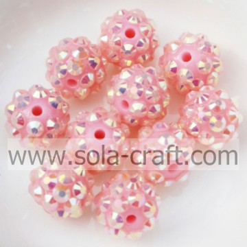 10*12MM Pink AB Resin Rhinestone Beads Chunky Jewelry Necklace