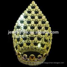 Corona grande de la tiara del desfile del diamante grande de la manera