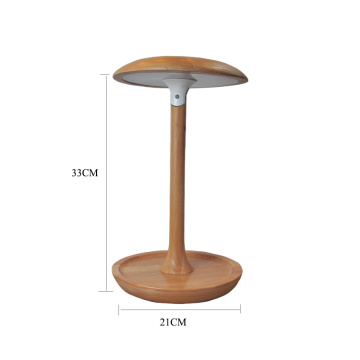 Mushroom shape adjustable wood led table lamp