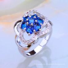 Anillo al por mayor del mercado de la muestra de la joyería del diamante del zafiro azul de Alibaba