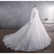 Lace stand collar long sleeve big tailed white wedding dress