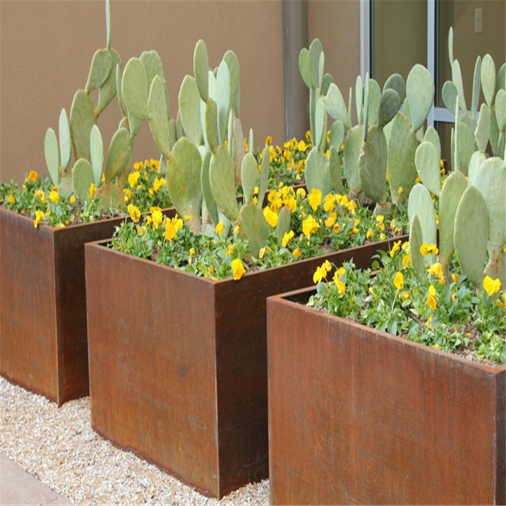 Desain Modern Corten Steel Planter Flower Pot