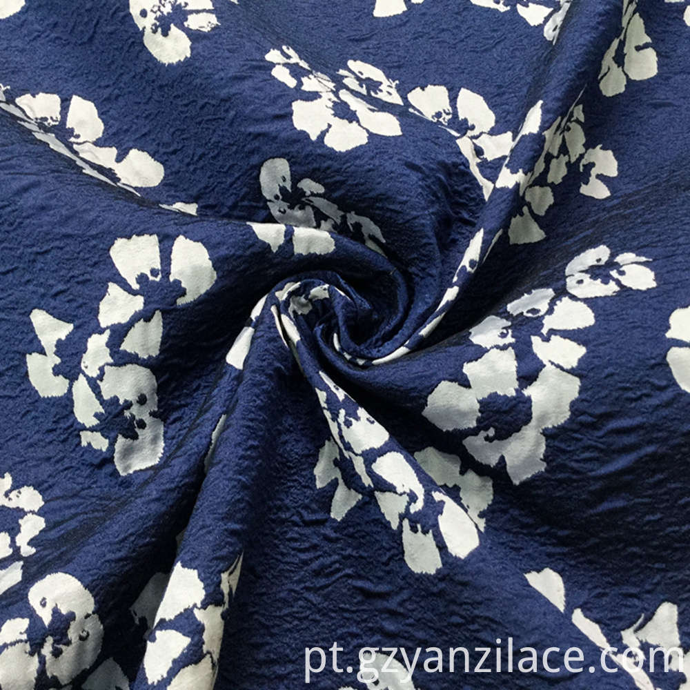 Blue White Flower Denim Fancy Jacauqrd Fabric