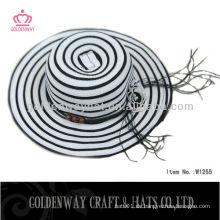Damen Wide Brim Sun Hut mit gefalteten Krone & Trim