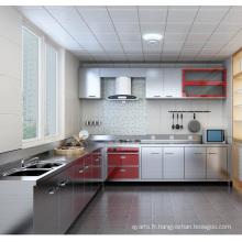 Armoire de cuisine en acier inoxydable en forme de L