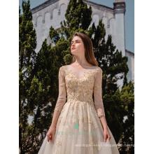 Long sleeve wedding dresses Guangzhou vestidos de novia wedding gowns golden beaded patterns