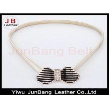 Primavera Outono Vintage moda Bowknot Metal Spring Chain Belt