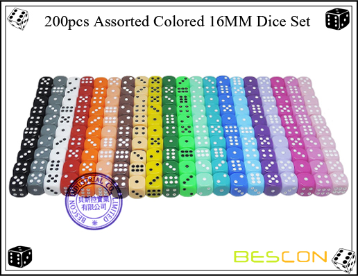 200pcs Assorted Colored 16MM Dice Set-2